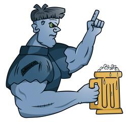 Mister Frankenstein holding glass of beer