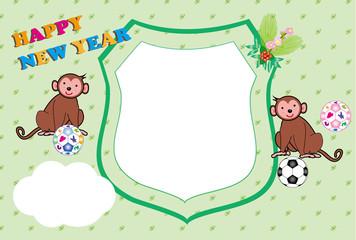 可愛い子猿とサッカーボールの写真フレーム