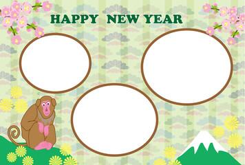 申年の猿のイラストの写真フレーム年賀状