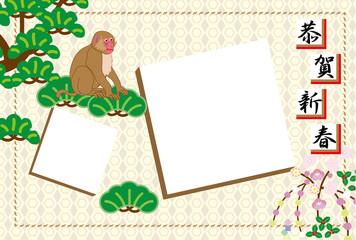 申年の猿のイラスト写真フレーム年賀状