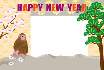 お洒落な猿のイラストフォトフレーム年賀状