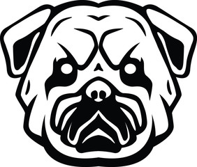 Bulldog head symbol illustration