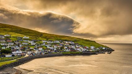 Wall Mural - Sunrise above Sandavagur, Faroe Islands, Denmark