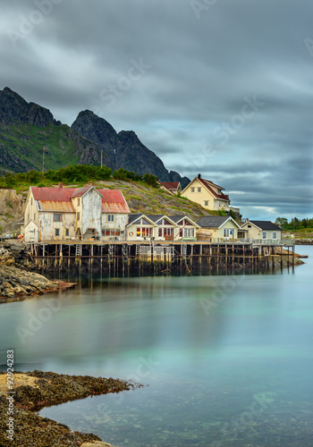 Wall mural Henningsvaer,  fishing village in the Lofoten archipelago, Norway