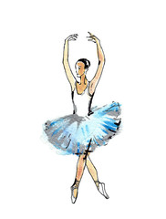 Ballet dancer, black and silver drawing on a blue watercolor, isolated white background. Template for scrapbook.