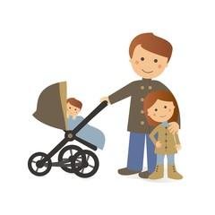Papá de paseo con sus hijos