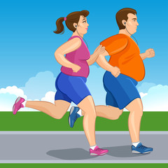 Illustration of a fat runners - couple running, health  lifestyle