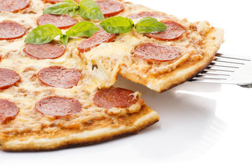 Pepperoni Pizza lifted slice 1, isolated on white background