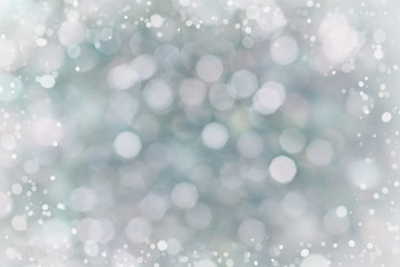 Abstract bokeh background for your design, blurred lights with snow effect, blue color, vintage toned