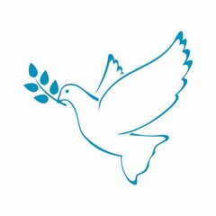 Peace Dove with Olive branch. Vector Illustration.