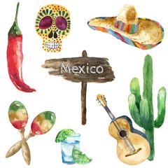 Watercolor mexico icons.