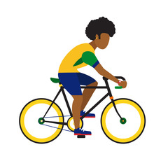 black man ride by road bicycle.  sport flat illustration.