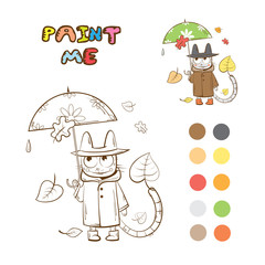 Coloring book with autumn cartoon cat. Vector image.