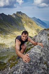 Man doing free climbing