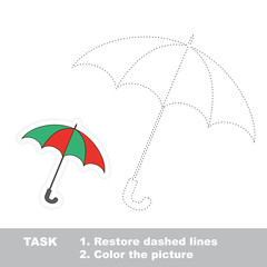 Trace game. One umbrella to be traced.