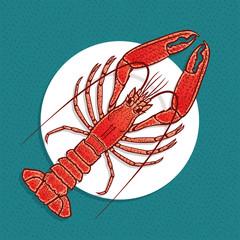 Lobster or crayfish vector illustration in vintage style. Seafood Restaurant logo or emblem template.
