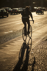 Bicycle man and shadow