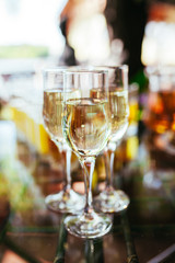 Elegant glasses with champagne standing in a row on serving tabl