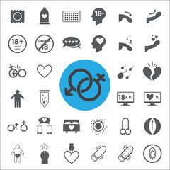 sex sign and symbol icons set.