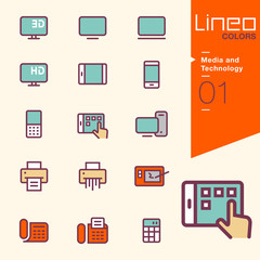 Lineo Colors - Media and Technology icons