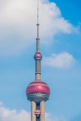 The Oriental Pearl Tower, landmark of Shanghai city.