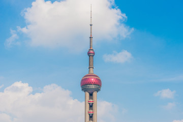The Oriental Pearl Tower, landmark of Shanghai city.