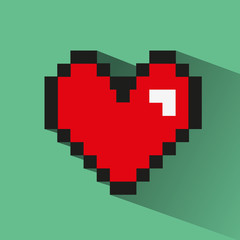 Pixelated heart on green backdrop.
