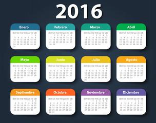 Calendar 2016 year vector design template in Spanish.