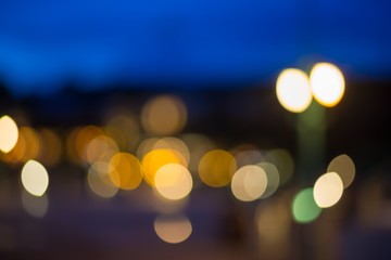 Beautiful blur bokeh of light at night