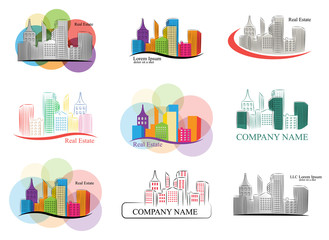 Set of colorful real estate emblems and logos. Vector collection.