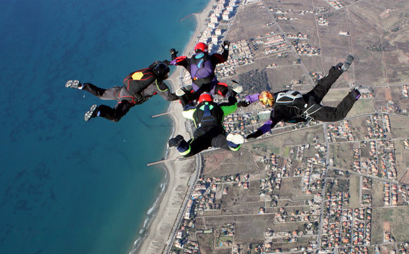 Skydiving over the beach