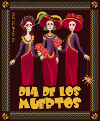 Day of the dead skull. Woman with calavera makeup. Dia de los muertos Text in Spanish.