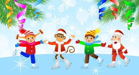 Cheerful children, the grandfather a frost and the monkey on ska
