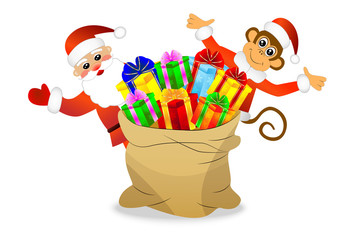 Monkey and Santa Claus with a bag of gifts