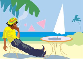 Lazy lifestyle, Jamaica rastafarian. Vector