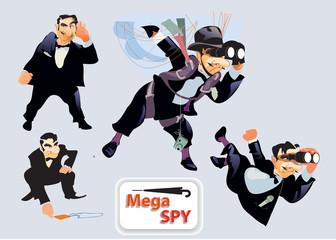 Spy Super Agent  joke set. Vector