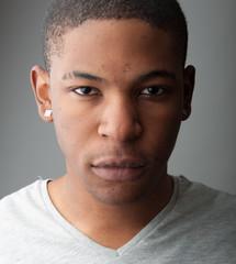 Close up Headshot portrait of a handsome black man