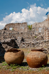 Wall Mural - Ancient jars found in Pompeii. Italy. Pompeii was destroyed and