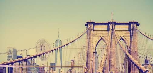 Vintage filtered panoramic picture of Brooklyn Bridge, NYC, USA