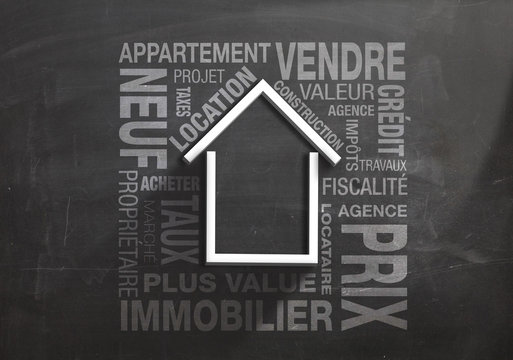 Home on chalkboard vector 3D - Business of real estate