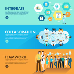 Flat design concept marketing integrate collaboration and teamwork for working together. Vector Illustrate