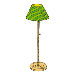Green Floor Lamp Isolated on White Background