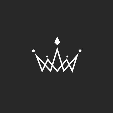 Crown logo monogram, mockup black and white royal symbol with jewels in the intersection thin line