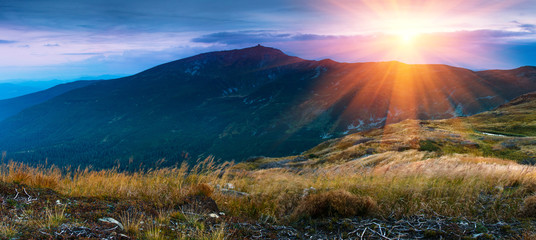 Beautiful panoramic landscape in the mountains at sunrise.