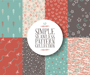 Simple seamless pattern set hipster vintage cute