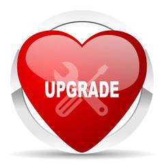 upgrade red heart valentine icon on white background