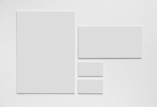 Gray simple stationery mock-up template on white background.