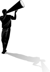 Male Cheerleader Silhouette with Megaphone