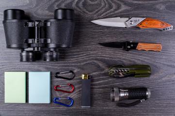 Field-glass, knife, turisticheksy set, small lamp,