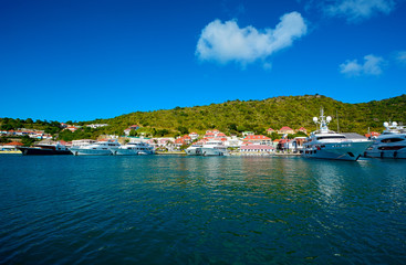 View of the bay of St Barth island, Caribbean sea
